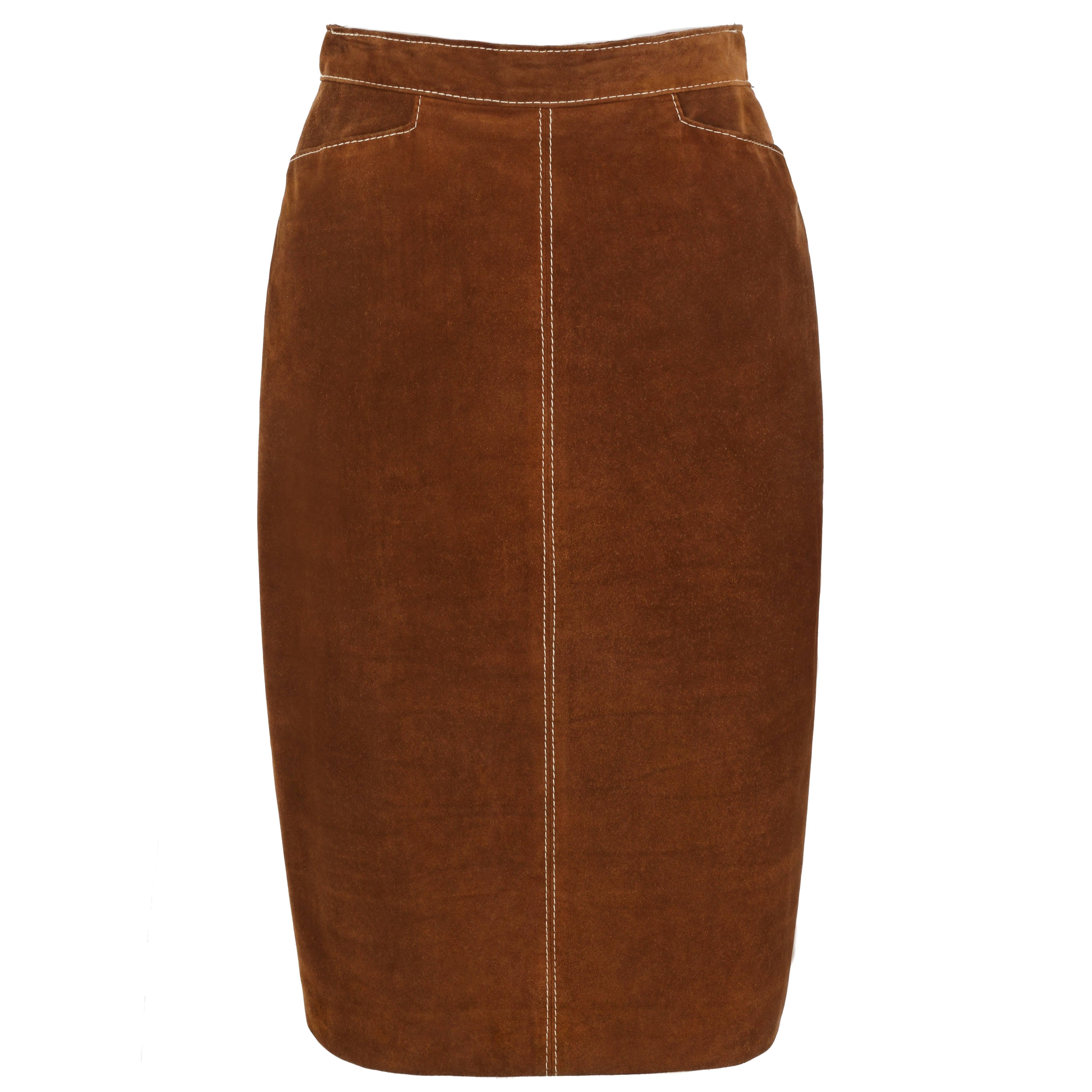 387784718 HERMES c.1970's Classic Brown Calfskin Suede Leather Pencil Skirt For Sale  at 1stdibs