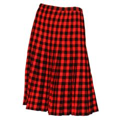 60 Givenchy Haute Couture Tartan Wool A-line Skirt