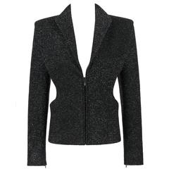 "ALEXANDER McQUEEN F/W 2007 ""Witches"" Black Metallic Wool Blazer Jacket"