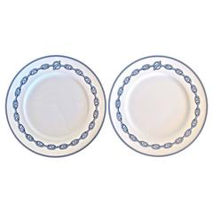 Hermes White Porcelain Two Piece Dinnerware Plate Set in Box