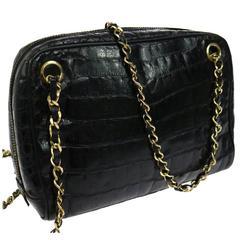 Chanel Rare Vintage Black Crocodile Gold Evening Camera Shoulder Bag