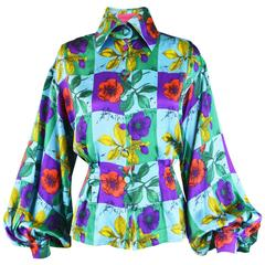 Christian Lacroix Vintage Silk Balloon Sleeve Botanical Print Blouse, 1990s
