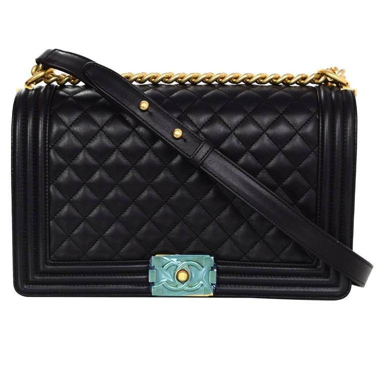 Chanel NEW IN BOX Black Leather New Medium Boy Bag GHW  1