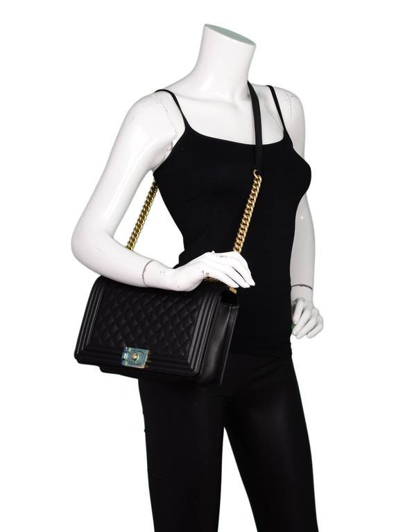 Chanel NEW IN BOX Black Leather New Medium Boy Bag GHW  2