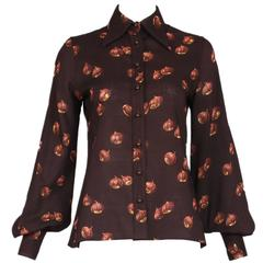1970s Valentino Brown Acorn Print Blouse