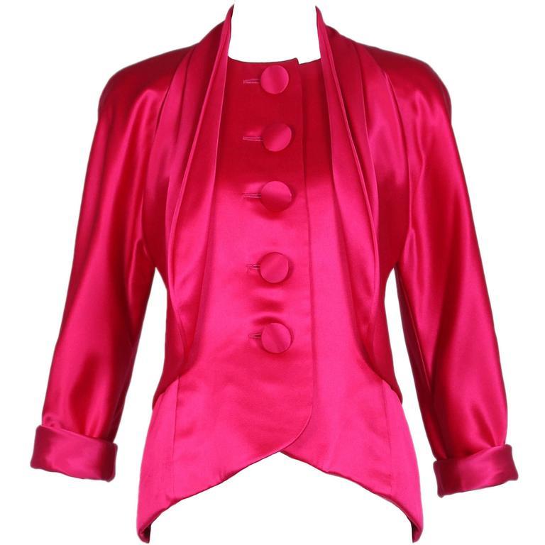 Vintage Galanos Hot Pink Satin Jacket Blouse