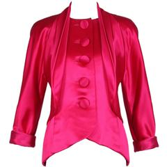Vintage Galanos Hot Pink Satin Jacket Blouse
