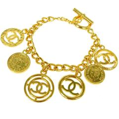 Chanel Vintage Gold Coin Charm Link Evening Cuff Bracelet
