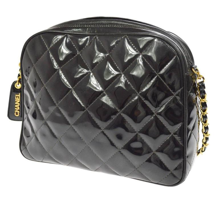 1f1c98430d6f Chanel Vintage Black Patent Quilted Camera Evening Shoulder Bag For Sale