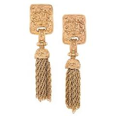 Chanel Vintage Gold Textured Tassel Evening Earrings in Box
