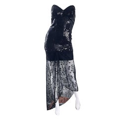 1990s Black Sequin + Lace Sexy Strapless Hi - Lo Vintage 90s Mini Cocktail Dress