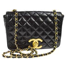Chanel Vintage Rare Black Gold CC Charm Evening Small Flap Shoulder Bag