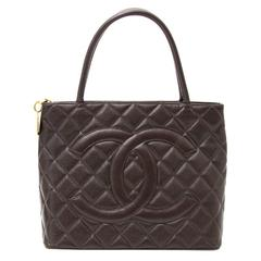 Chanel Brown Caviar Quilted Shopping Tote
