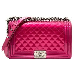 Chanel Metallic Patent Fuchsia New Medium Boy Bag