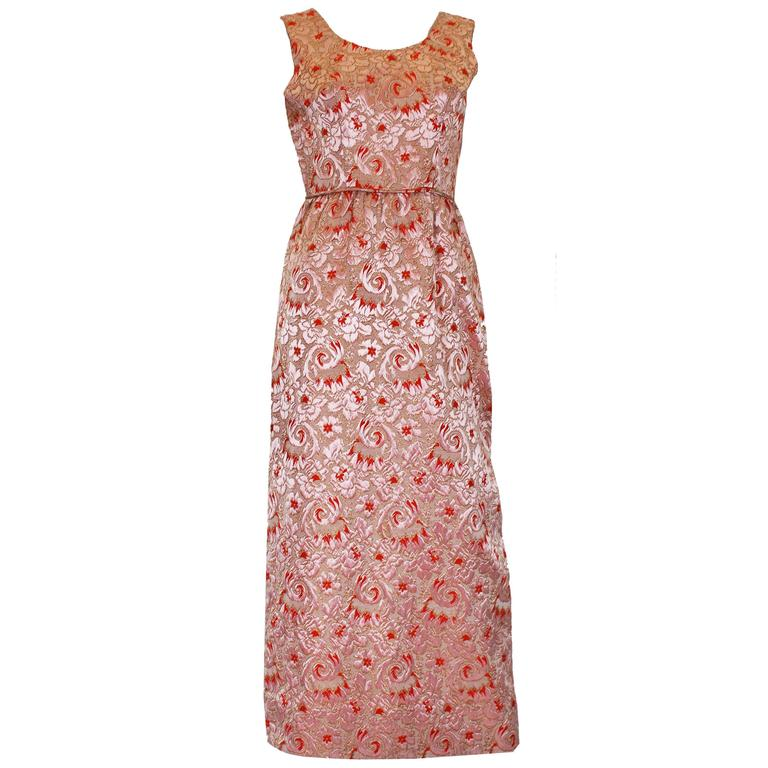 1960s Brocade Peach and Coral Evening Gown For Sale at 1stdibs