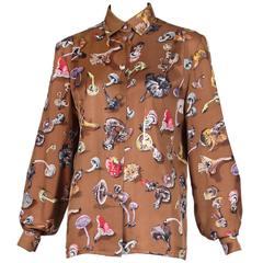 Vintage Hermes Light Brown Champignons Silk Shirt Blouse W/Mushroom Print