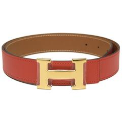 Hermes 32mm Reversible Rouge Grenat/Gold Constance H Belt 85cm Gold Buckle