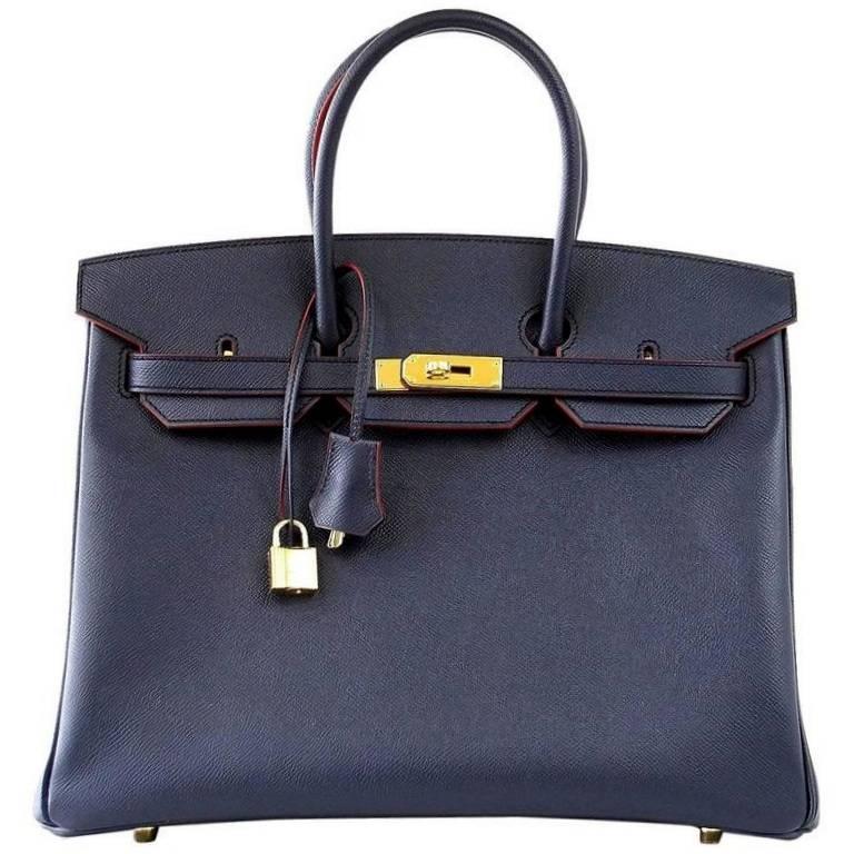 Hermes Birkin 35 Bag Navy Indigo w/ Rouge Contour Limited Edition Epsom Gold