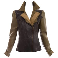Alexander McQueen Olive Green Black Leather Zip Front Jacket