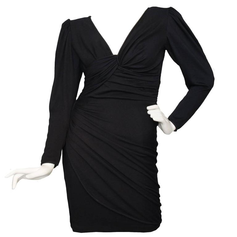 Slinky 80s Black Ungaro Draped Cocktail Dress For Sale