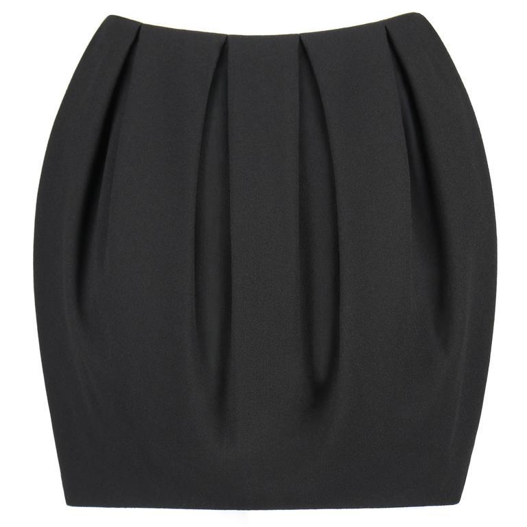 ALEXANDER McQUEEN A/W 2012 Black Wool Crepe Box Pleat Mini Skirt