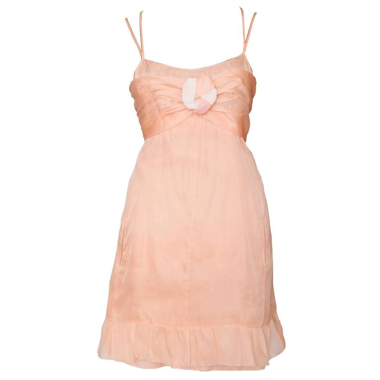 Delicate Baby Pink Chanel Silk Mini Dress