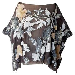 Runway Valentino Heavily Beaded Floral Poncho Top