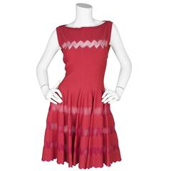 Alaia Red Fit Flare Sleeveless Zig Zag Mesh Dress sz FR44 rt. $4,000+