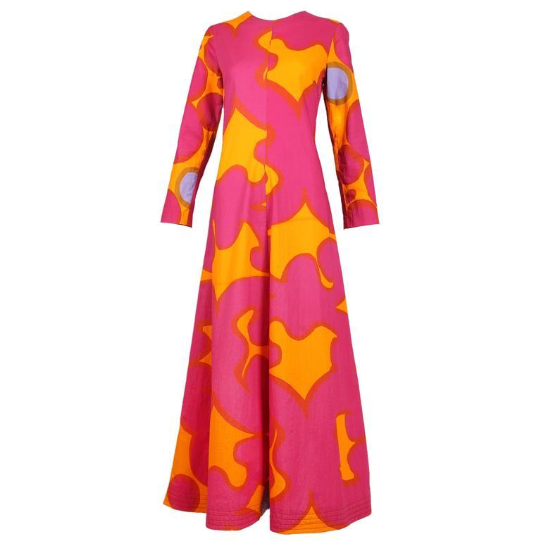 Vintage Marimekko Pink and Orange Cotton Abstract Print Maxi Dress ...