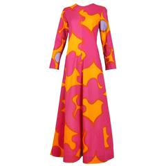 Vintage Marimekko Pink & Orange Cotton Abstract Print Maxi Dress