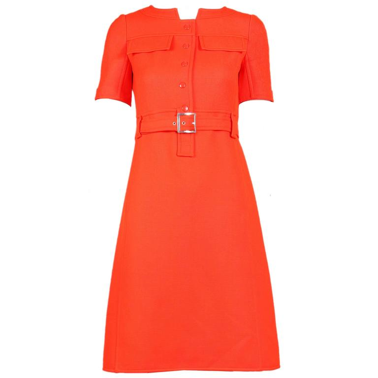 1970's Courreges Haute Couture Orange Wool Short Sleeved Day Dress No.53599 For Sale