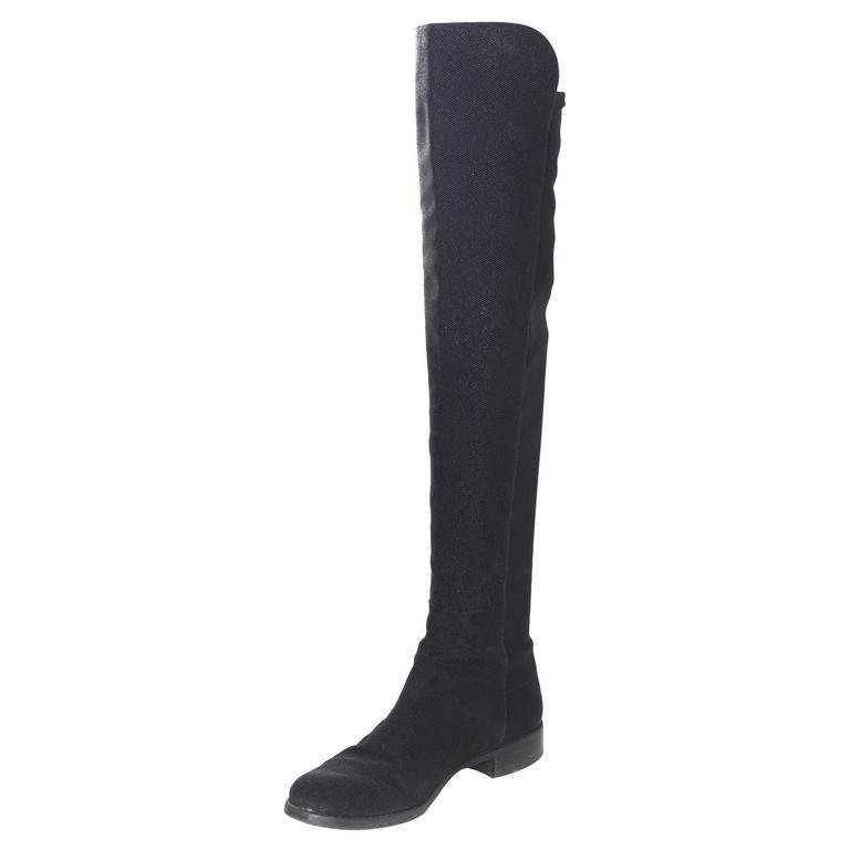Stuart Weitzman Black 50/50 Half/Half Pindot Boots sz US8 w/BOX For Sale