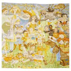 Hermes Rare Collectors Fairytales Silk Scarf 90cm