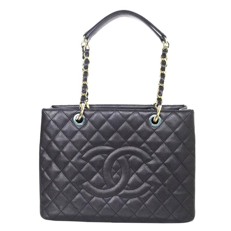 d06639891b Chanel Black Caviar Leather GST Grand Shopper Tote Bag For Sale at ...