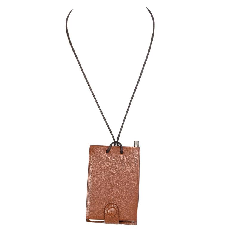 Hermes Brown Chevre Leather Notebook Necklace w/ Pen For Sale
