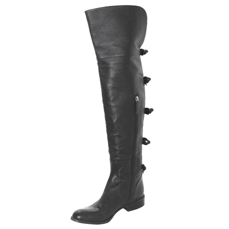 Valentino Black Leather Knee-High Boots sz 40 rt. $1,695 1