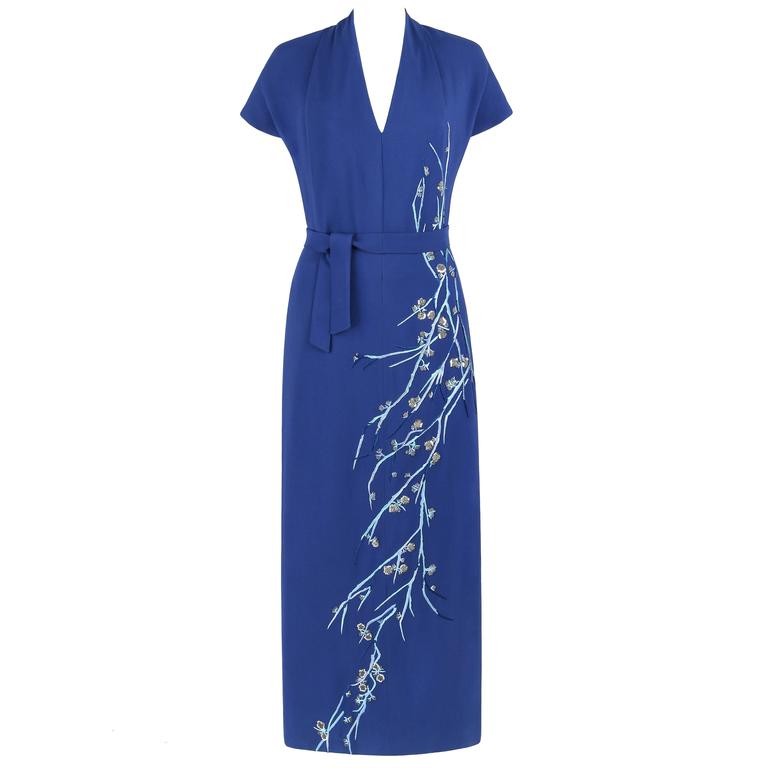 GIVENCHY Couture A/W 1998 ALEXANDER McQUEEN Royal Blue Floral Embroidered Dress