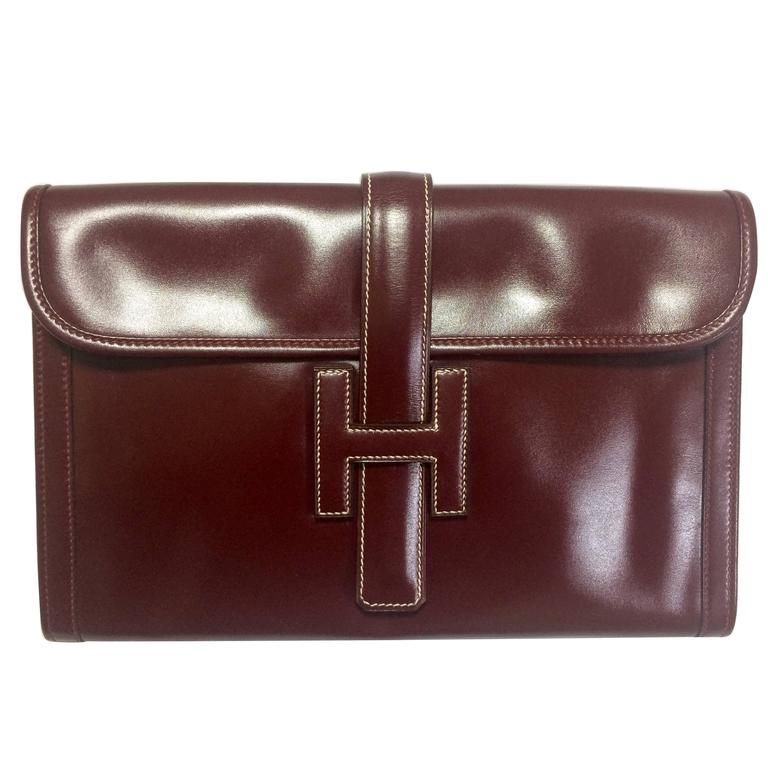 Vintage HERMES jige, document case, dark wine, bordeaux boxcalf portfolio bag.