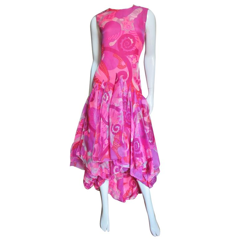 1960 s cardin couture scarves high low dress at 1stdibs