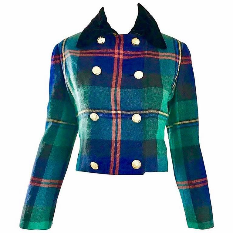 Chic 1990s Ralph Lauren Purple Label Tartan Plaid Vintage Cropped Wool Jacket  For Sale