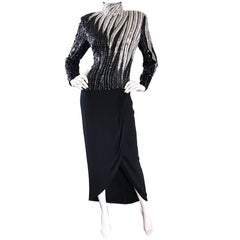 Sensational Vintage Bob Mackie Black and Silver Heavily Beaded Dramatic Gown