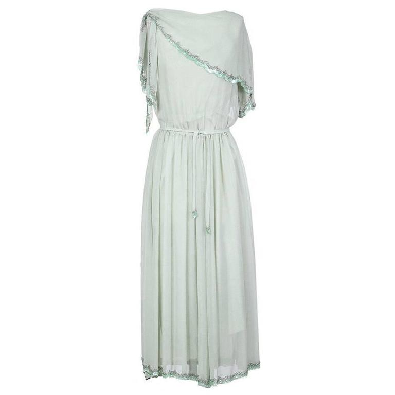 Karl Lagerfeld Mint Colored Chiffon Dress circa 1970s For Sale