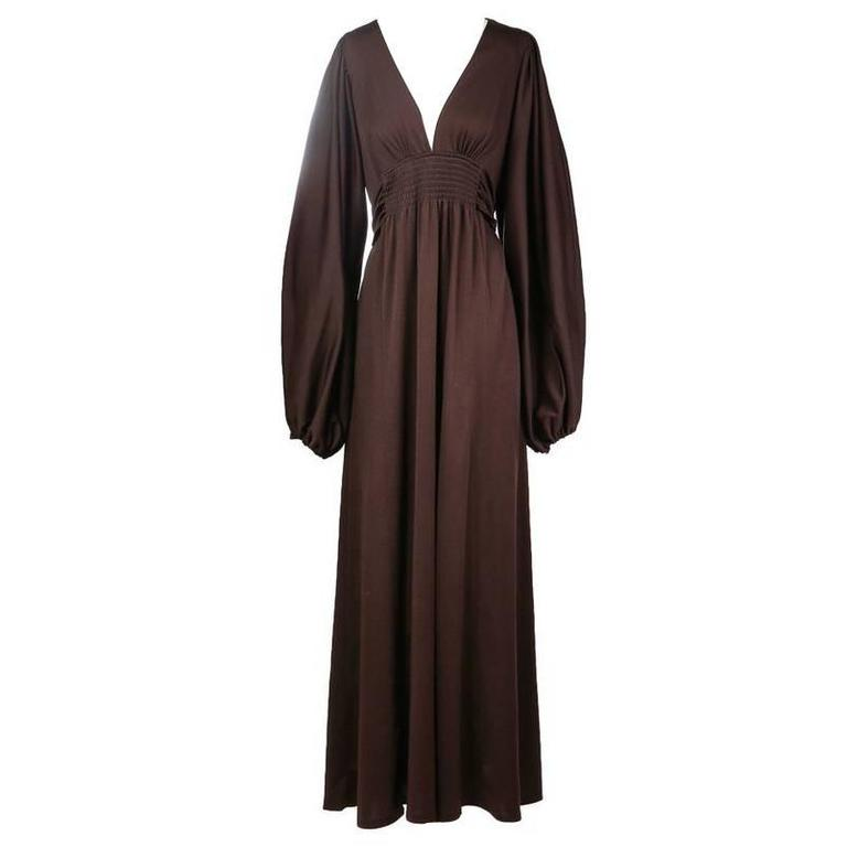 Ossie Clark Jersey Peasant Dress circa 1970s 1