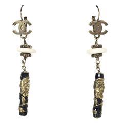 Chanel '08 Black & Ivory Drop Pierced Earrings