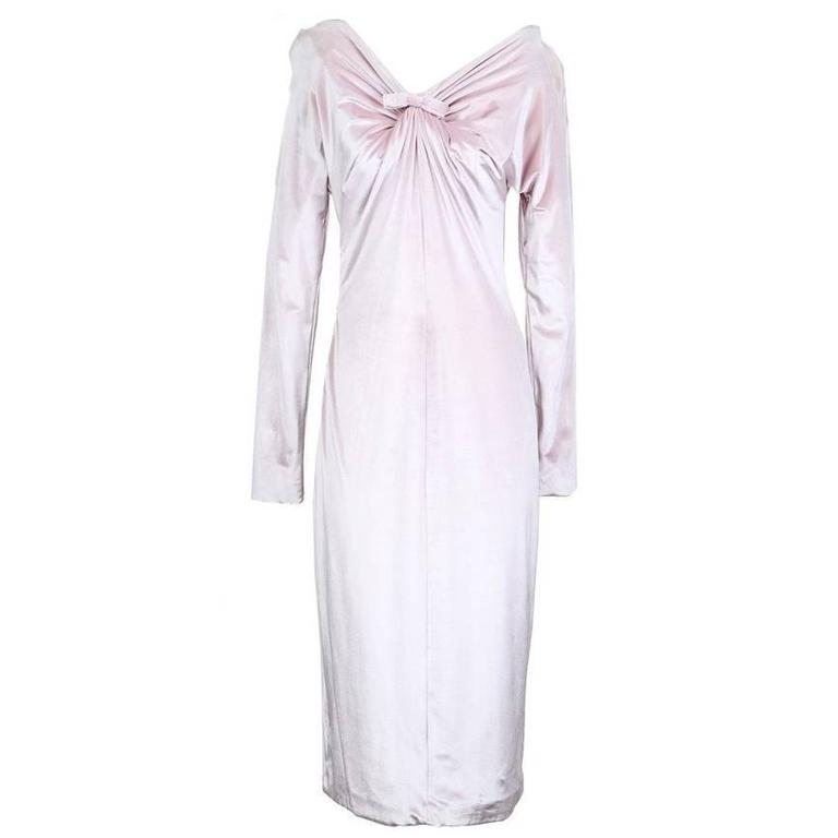 Versace Icy Pink Velvet Dress circa 1990s For Sale