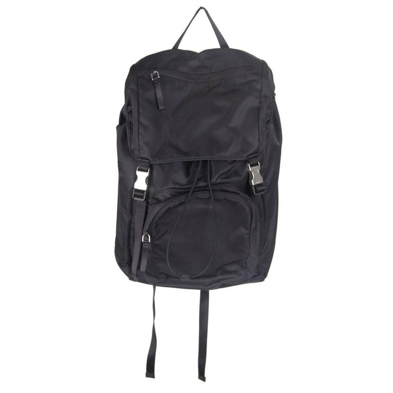 cdc8782ca8 PRADA Navy Blue Nylon Canvas DOUBLE BUCKLE BACKPACK For Sale at 1stdibs