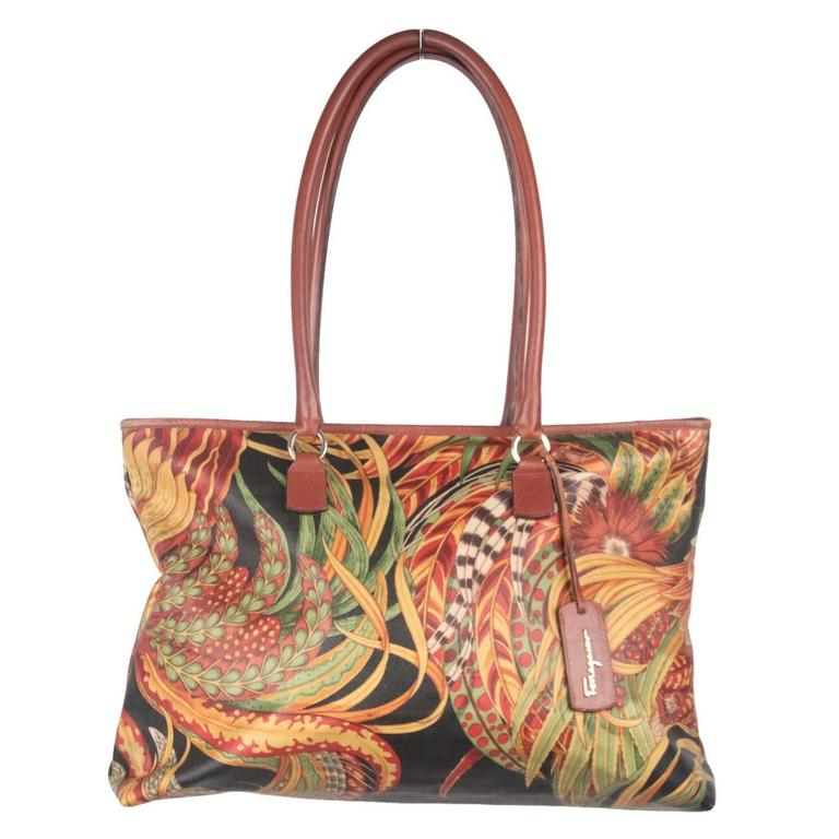 70e7244a146d SALVATORE FERRAGAMO Multi-colored Coated Canvas TOTE at 1stdibs