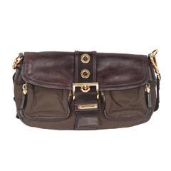 PRADA Brown Tessuto Canvas & Leather BUCKLE CROSSBODY BAG