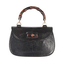 GUCCI Vintage Black Crocodile leather BAMBOO BAG Top Handle HANDBAG
