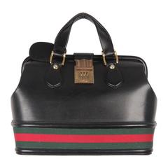 GUCCI VINTAGE Black Leather TRAIN CASE w/ Combination Lock